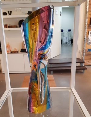 Rainbow Sculpture Red Yellow Blue - Kosta Boda Limited