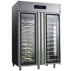 Kylskåp 1400 liter för dessert 60x40 cm tillverkad av rostfritt stål med glasdörrar, -2 ° / + 8 ° C