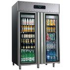 Kylskåp 1400 liter av rostfritt stål med glasdörrar, GN 2/1, -2 ° / + 8 ° C