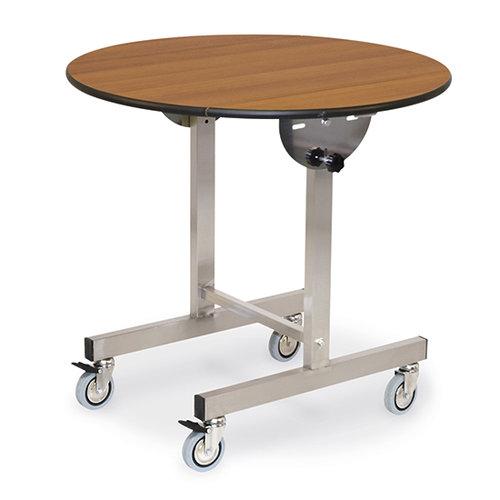 Bord med rund vikbar topp, på hjul, ø 100 cm