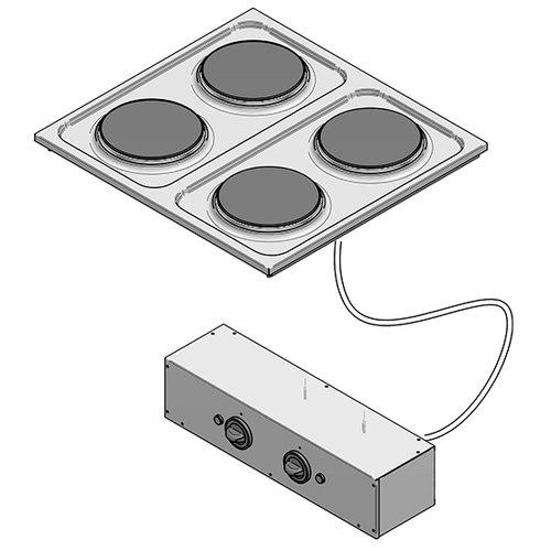 Infälld Elektrisk spis, 4 plattor