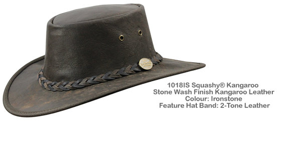 SQUASHY - Kangaroo Leather - 2 Tone Hatband  - Ironstone
