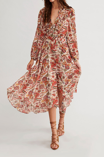 Endo Long Dress With Buttons And Floral Print