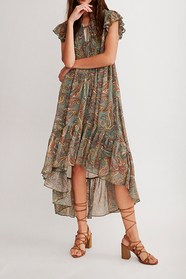 Jukun Asymmetric Printed Long Dress