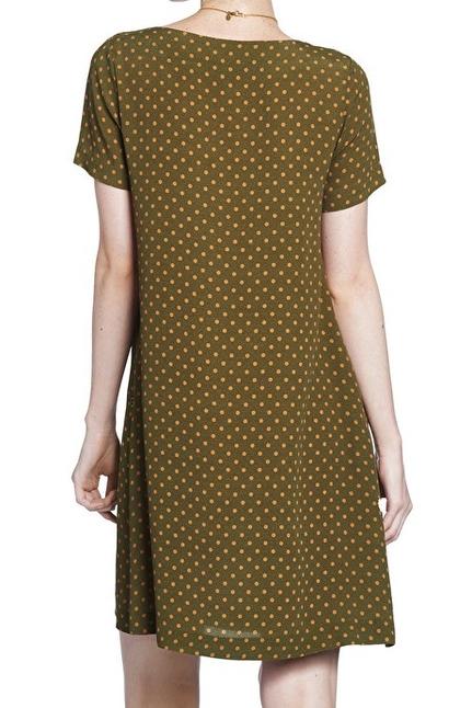 Mini flared dress with polka dots