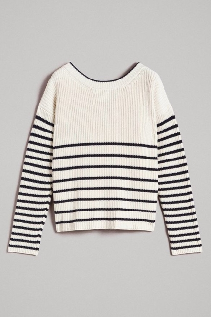 Striped Top With Eyelets
