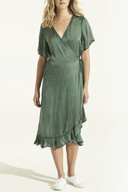 Piper Frill Wrap Emerald Dress