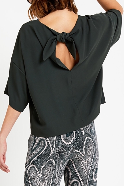 Flared Blouse With Bow