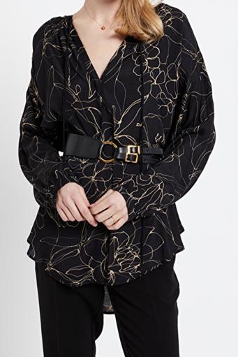 Viscose blouse with asymmetric scalloped hemline