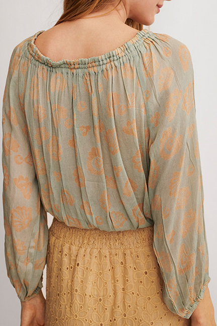 Berom Embroidered And Floral Printed Boho Blouse