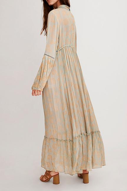 Bhele Long Boho Dress With Floral Print