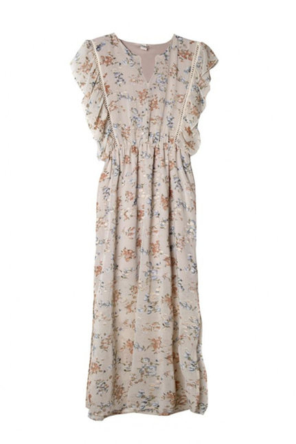 Emis Embrodery Long Dress With Ruffle Sleeves