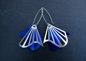 Radiating Swirl Dangle Earrings Blue