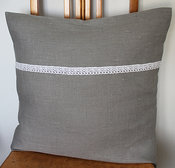 Kuddfodral Linen lace grey