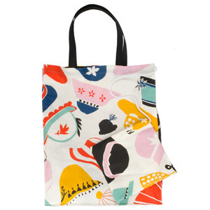 Oilcloth Shopping Bag with toiletry bag Hats on for the world's women