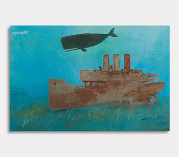 Canvas painting, Valdemar the whale – Rusty wreck