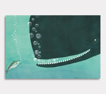Canvas painting, Valdemar the whale and Vera Whiting