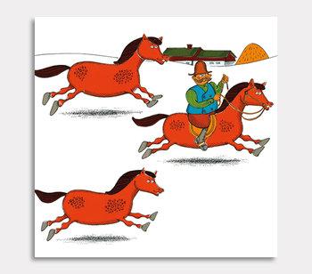 Tavla, Vi rider från gården, tre hästar och jag.