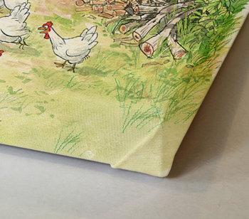 Findus chasing chickens