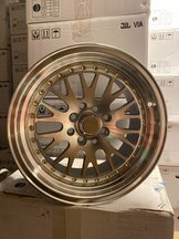 """59°North Wheels D-003 8x15"""" ET10 4x100/114 Silver/frontpolished/gold rivets"""