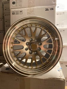 "59°North Wheels D-003 8x15"" ET10 4x100/114 Silver/frontpolished/gold rivets"