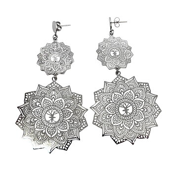Mandala Earrings Double, Steel