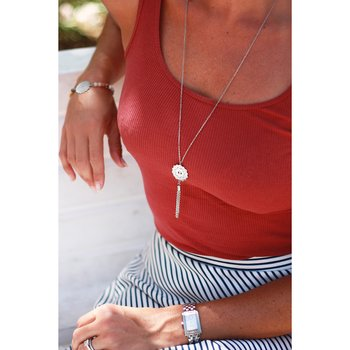 Mandala Necklace mini tassel long, Steel