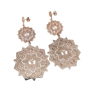 Mandala Earrings Double, Rose Gold