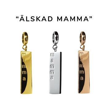 """Berlock med text """"älskad mamma"""" - stål, guld, rosé"""
