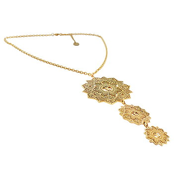 Mandala Necklace Tripple, Gold