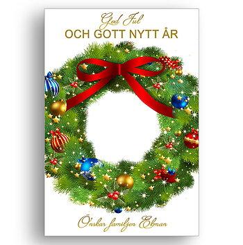 Jul krans God jul och gott nytt år önskar familjen 1 - Jul vykort