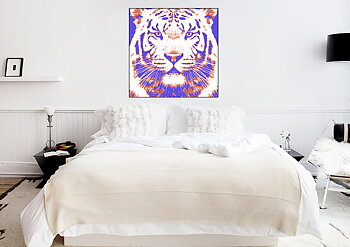 Svart vit tiger lila orange röd - poster