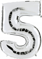 Folieballong Siffra - 5 - Silver