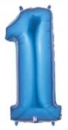 Folieballong Siffra - 1 - Blå