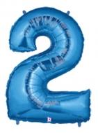 Folieballong Siffra - 2 - Blå
