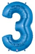 Folieballong Siffra - 3 - Blå