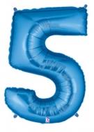 Folieballong Siffra - 5 - Blå