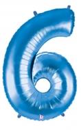 Folieballong Siffra - 6 - Blå