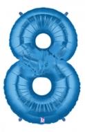Folieballong Siffra - 8 - Blå