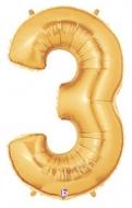 Folieballong Siffra - 3 - Guld