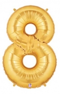 Folieballong Siffra - 8 - Guld