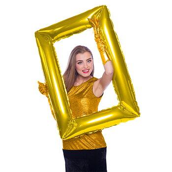 Uppblåsbar fotoram  - Ballong Selfie Ram Guld, 85 x 60 cm