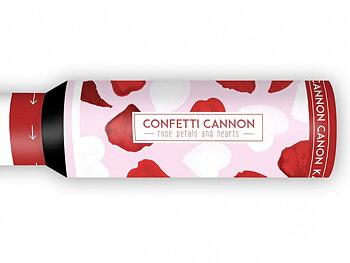 Konfetti Granat, Hjärtan och rosenblad, 30 cm