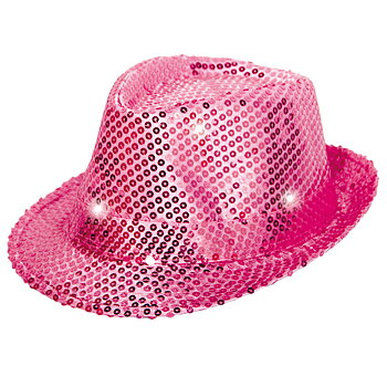 Sequin Tribly Hat Magenta with LED