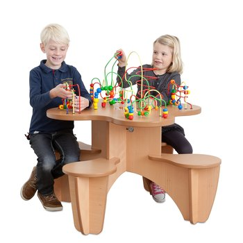 DeLux Rollercoaster Table with 4 Attached Seats