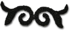"""Ornament """"spegelvänt"""" svart"""