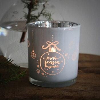 Ljuslykta Christmas Sparkle Vit/Silver - Majas Cottage