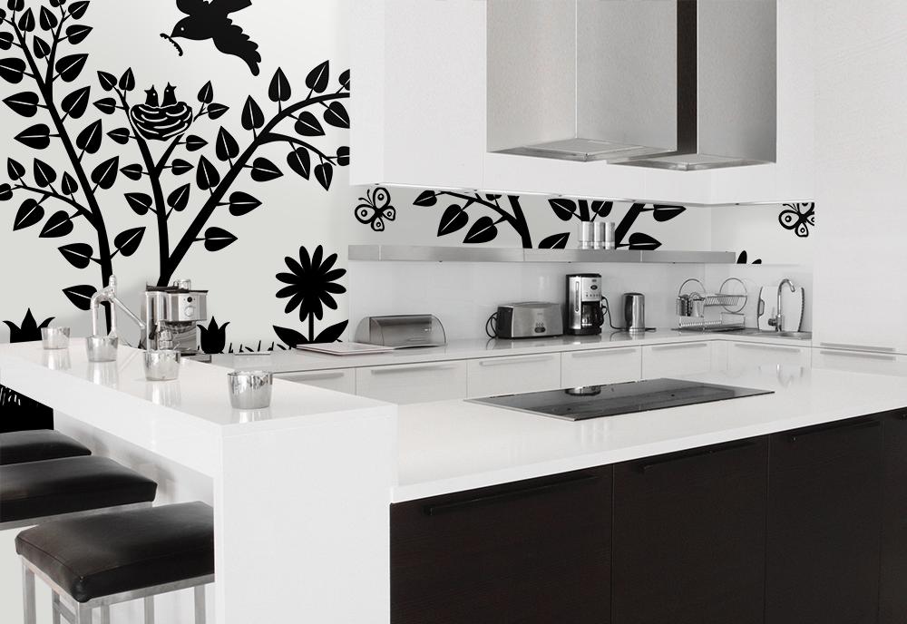 Kök med fototapet grafisk design
