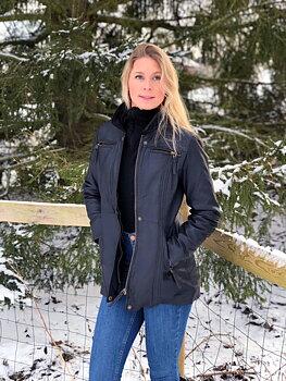 Sandra antikbrun, Dam klassisk skinnjacka längre modell.