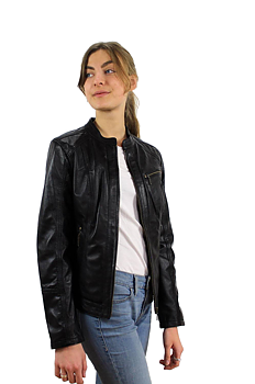 Lena svart, Dam skinnjacka klassisk kort modell